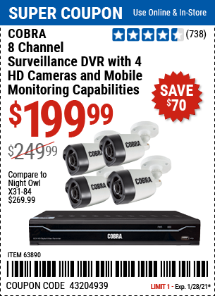 Harbor Freight Tools Coupons, Harbor Freight Coupon, HF Coupons-8 Channel Surveillance Dvr With 4 Hd Cameras And Mobile Monitoring Capabilities