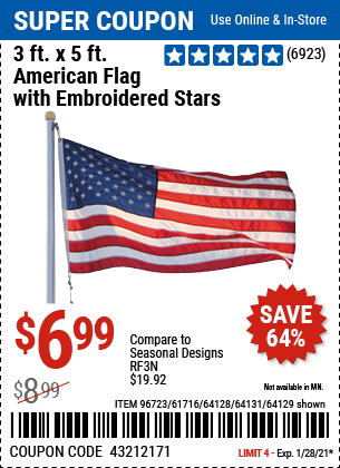 Harbor Freight Tools Coupons, Harbor Freight Coupon, HF Coupons-3 Ft. X 5 Ft. American Flag With Embroidered Stars