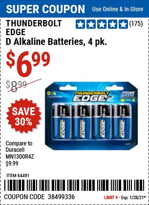 Harbor Freight Tools Coupons, Harbor Freight Coupon, HF Coupons-THUNDERBOLT EDGE D Alkaline Batteries 4 Pk. for $4.99