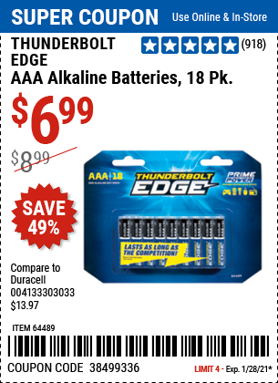 Harbor Freight Tools Coupons, Harbor Freight Coupon, HF Coupons-THUNDERBOLT EDGE Alkaline Batteries for $4.99