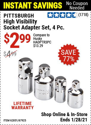 Harbor Freight Tools Coupons, Harbor Freight Coupon, HF Coupons-4 Piece High Visibility Socket Adapter Set