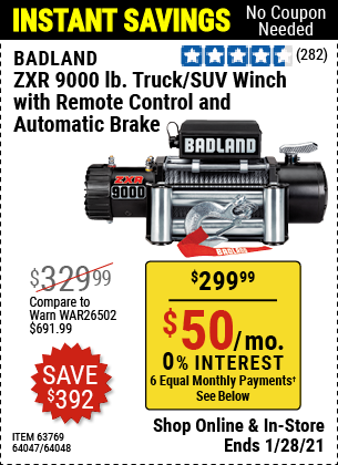 Harbor Freight Tools Coupons, Harbor Freight Coupon, HF Coupons-Badland Zxr9000 9000 Lb Winch