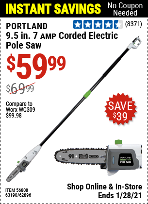 Harbor Freight Tools Coupons, Harbor Freight Coupon, HF Coupons-7 Amp 1.5 Hp Electric Pole Saw