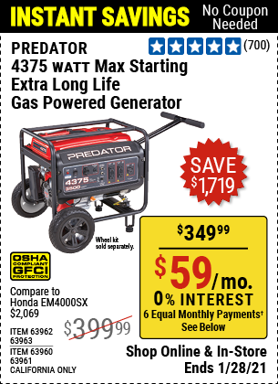 Harbor Freight Tools Coupons, Harbor Freight Coupon, HF Coupons-4375 Max Starting/3500 Running Watts, 6.5 Hp (212cc) Gas Generator