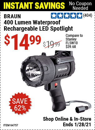 Harbor Freight Tools Coupons, Harbor Freight Coupon, HF Coupons-400 Lumen Waterproof Rechargeable Led Spotlight