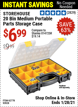 Harbor Freight Tools Coupons, Harbor Freight Coupon, HF Coupons-20 Bin Portable Parts Storage Case
