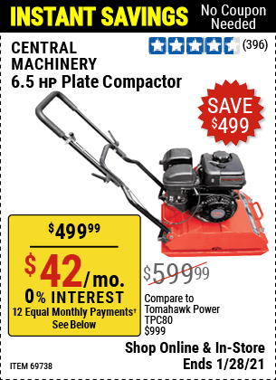 Harbor Freight Tools Coupons, Harbor Freight Coupon, HF Coupons-6.5 Hp Plate Compactor (179 Cc)