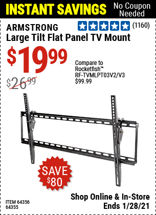Harbor Freight Tools Coupons, Harbor Freight Coupon, HF Coupons-ARMSTRONG Large Tilt Flat Panel TV Mount for $19.99
