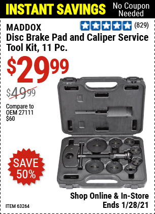 Harbor Freight Tools Coupons, Harbor Freight Coupon, HF Coupons-11 Piece Disc Brake Pad And Caliper Service Tool Kit