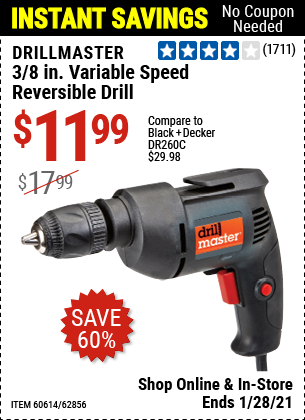 Harbor Freight Tools Coupons, Harbor Freight Coupon, HF Coupons-3/8 In. Variable Speed Reversible Drill