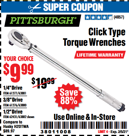 Harbor Freight Tools Coupons, Harbor Freight Coupon, HF Coupons-Click-type Torque Wrenches