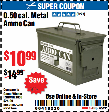 Harbor Freight Tools Coupons, Harbor Freight Coupon, HF Coupons-.50 Cal Metal Ammo Can for $9.99