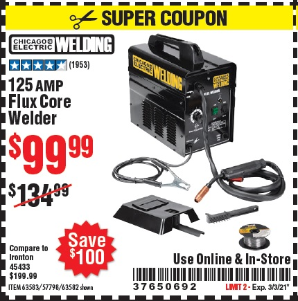 Harbor Freight Tools Coupons, Harbor Freight Coupon, HF Coupons-125 Amp Flux-core Welder