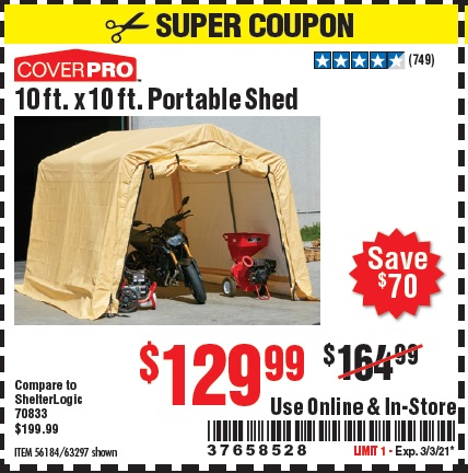 Harbor Freight Tools Coupons, Harbor Freight Coupon, HF Coupons-Coverpro 10 Ft. X 10 Ft. Portable Shed
