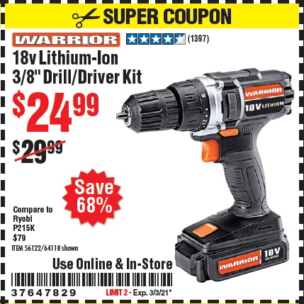 Harbor Freight Tools Coupons, Harbor Freight Coupon, HF Coupons-18v Lithium-Ion 3/8