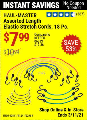 Harbor Freight Tools Coupons, Harbor Freight Coupon, HF Coupons-18 Piece Assorted Length Elastic Stretch Cords