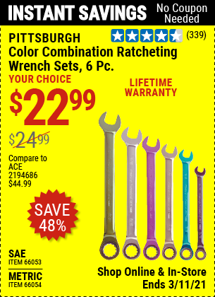 Harbor Freight Tools Coupons, Harbor Freight Coupon, HF Coupons-6 Piece Color Combination Ratcheting Wrench Sets