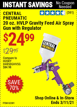 Harbor Freight Tools Coupons, Harbor Freight Coupon, HF Coupons-20 Oz. Hvlp Gravity Feed Air Spray Gun With Regulator