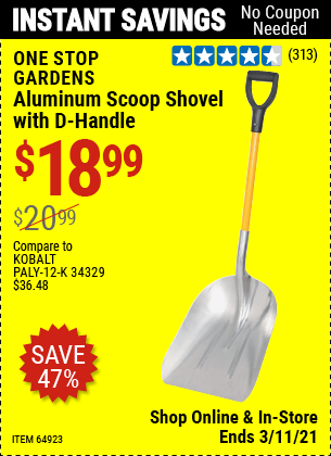 Harbor Freight Tools Coupons, Harbor Freight Coupon, HF Coupons-Aluminum Scoop Shovel With D-handle