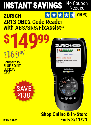 Harbor Freight Tools Coupons, Harbor Freight Coupon, HF Coupons-Zurich Obd2 Scanner With Abs Zr13