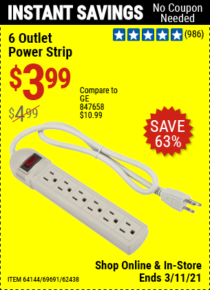 Harbor Freight Tools Coupons, Harbor Freight Coupon, HF Coupons-6 Outlet Power Strip