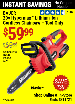 Harbor Freight Tools Coupons, Harbor Freight Coupon, HF Coupons-Bauer 20 Volt Lithium Cordless 10