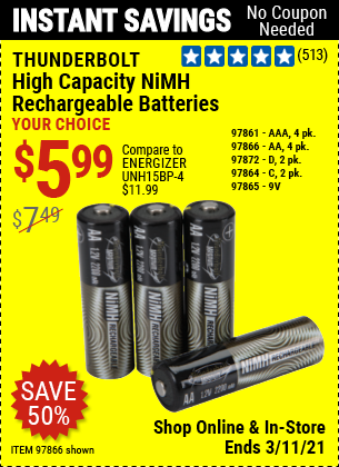 Harbor Freight Tools Coupons, Harbor Freight Coupon, HF Coupons-High Capacity Nimh Rechargeable Batteries (aa/aaa Pack Of 4, C/d Pack Of 2, 9v Pack Of 1)