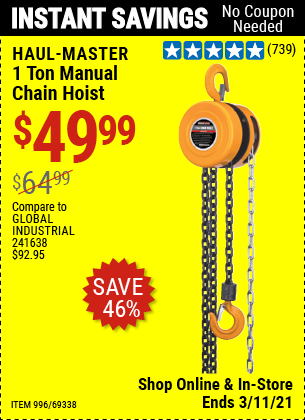 Harbor Freight Tools Coupons, Harbor Freight Coupon, HF Coupons-1 Ton Chain Hoist