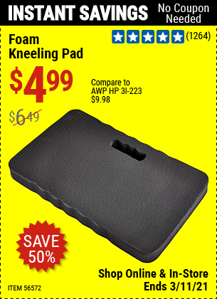 Harbor Freight Tools Coupons, Harbor Freight Coupon, HF Coupons-Heavy Duty Foam Kneeling Pad for $3.99