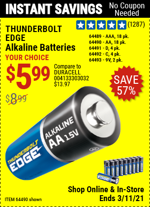 Harbor Freight Tools Coupons, Harbor Freight Coupon, HF Coupons-Thunderbolt Edge Alkaline Plus Batteries, Aa, Aaa - 18pk