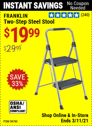 Harbor Freight Tools Coupons, Harbor Freight Coupon, HF Coupons-FRANKLIN Two-Step Stool