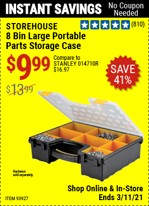 Harbor Freight Tools Coupons, Harbor Freight Coupon, HF Coupons-8 Bin Large Portable Parts Storage Case