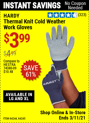 Harbor Freight Tools Coupons, Harbor Freight Coupon, HF Coupons-Thermal Knit Cold Weather Work Gloves