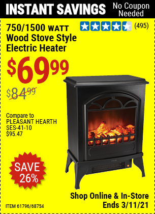 Harbor Freight Tools Coupons, Harbor Freight Coupon, HF Coupons-750/1500 Watt Wood Stove Style Electric Heater