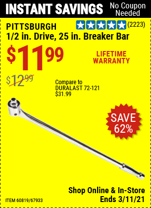 Harbor Freight Tools Coupons, Harbor Freight Coupon, HF Coupons-Pittsburgh Pro 1/2