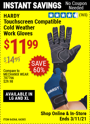 Harbor Freight Tools Coupons, Harbor Freight Coupon, HF Coupons-Hardy Cold Weather Work Gloves Large