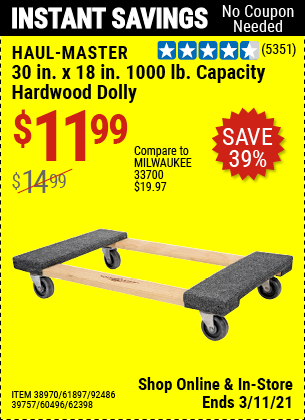 Harbor Freight Tools Coupons, Harbor Freight Coupon, HF Coupons-1000 Lb. Capacity Mover's Dolly