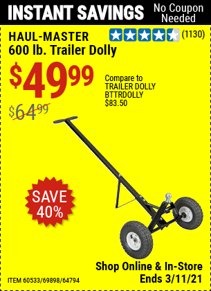 Harbor Freight Tools Coupons, Harbor Freight Coupon, HF Coupons-HAUL-MASTER 600 Lbs. Heavy Duty Trailer Dolly for $49.99