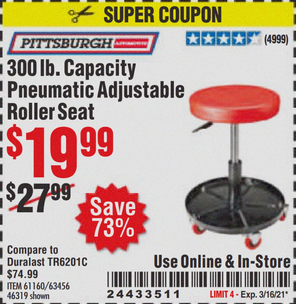 Harbor Freight Tools Coupons, Harbor Freight Coupon, HF Coupons-Mechanic's Roller Seat, Pneumatic Adjustable Roller Seat
