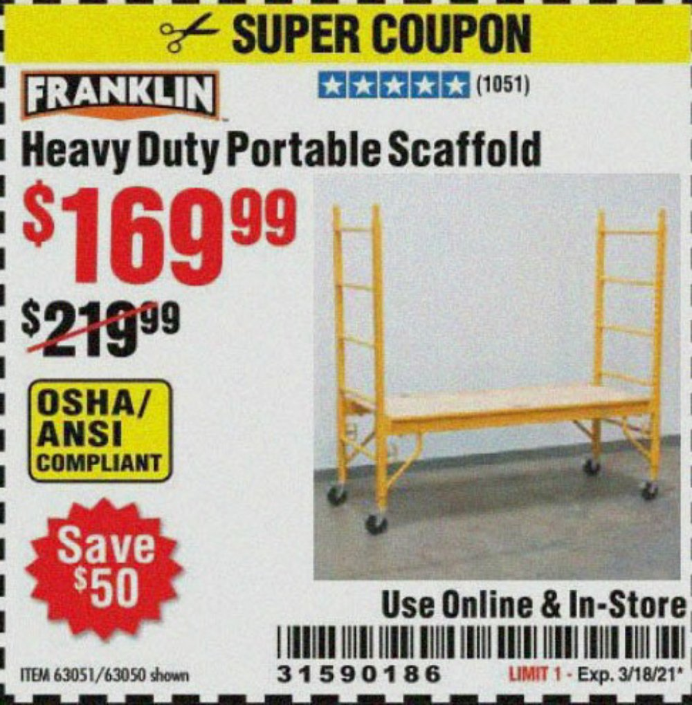 Harbor Freight Tools Coupons, Harbor Freight Coupon, HF Coupons-Heavy Duty Portable Scaffold