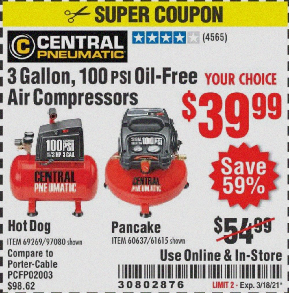 Harbor Freight Tools Coupons, Harbor Freight Coupon, HF Coupons-3 Gallon, 100 Psi Oilless Air Compressors