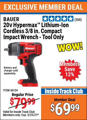 Harbor Freight Tools Coupons, Harbor Freight Coupon, HF Coupons-Bauer 20 Volt Lithium Cordless, 3/8