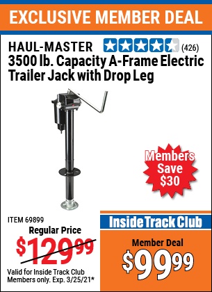 Harbor Freight Tools Coupons, Harbor Freight Coupon, HF Coupons-3500 Lb Drop Leg Heavy Duty Electric Trailer Jack