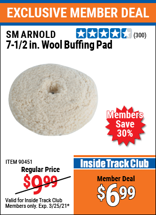 Harbor Freight Tools Coupons, Harbor Freight Coupon, HF Coupons-7-1/2 In Wool Buffing Pad