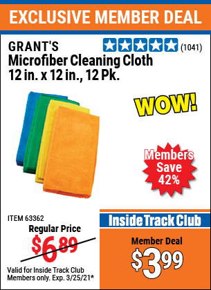 Harbor Freight Tools Coupons, Harbor Freight Coupon, HF Coupons-Microfiber Cleaning Cloths Pack Of 12