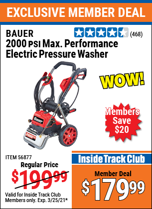 Harbor Freight Tools Coupons, Harbor Freight Coupon, HF Coupons-BAUER 2000 PSI Max Performance Electric Pressure Washer for $159.99