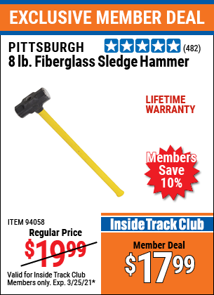 Harbor Freight Tools Coupons, Harbor Freight Coupon, HF Coupons-8 Lb. Fiberglass Sledge Hammer