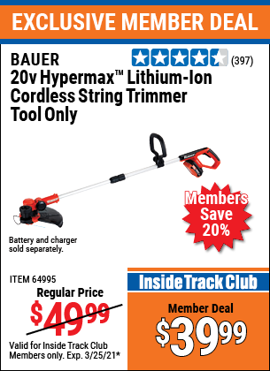 Harbor Freight Tools Coupons, Harbor Freight Coupon, HF Coupons-BAUER 20V Hypermax Lithium Cordless String Trimmer for $39.99