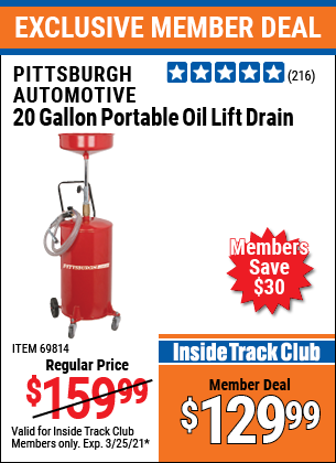 Harbor Freight Tools Coupons, Harbor Freight Coupon, HF Coupons-20 Gallon Portable Oil Lift Drain
