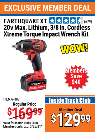 Harbor Freight Tools Coupons, Harbor Freight Coupon, HF Coupons-20 Volt Lithium Cordless 3/8
